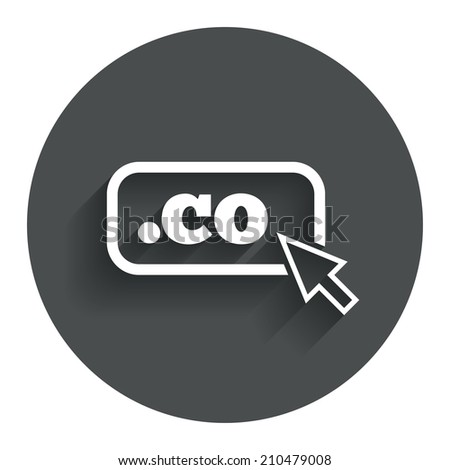 Domain CO sign icon. Top-level internet domain symbol with cursor pointer. Circle flat button with shadow. Modern UI website navigation. - stock photo