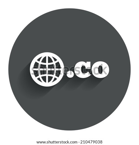 Domain CO sign icon. Top-level internet domain symbol with globe. Circle flat button with shadow. Modern UI website navigation. - stock photo