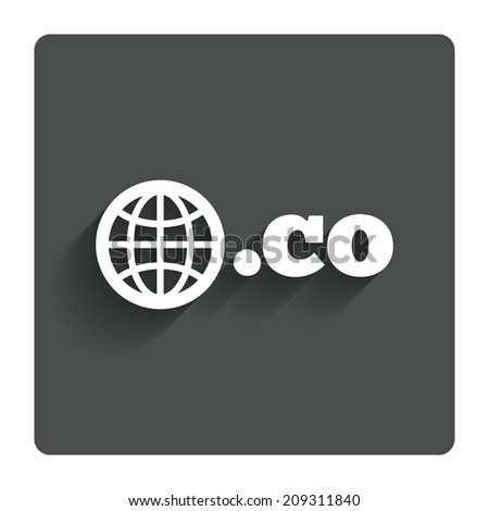 Domain CO sign icon. Top-level internet domain symbol with globe. Gray flat button with shadow. Modern UI website navigation. - stock photo