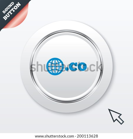 Domain CO sign icon. Top-level internet domain symbol with globe. White button with metallic line. Modern UI website button with mouse cursor pointer. - stock photo