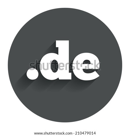 Domain DE sign icon. Top-level internet domain symbol. Circle flat button with shadow. Modern UI website navigation. - stock photo