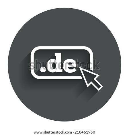 Domain DE sign icon. Top-level internet domain symbol with cursor pointer. Circle flat button with shadow. Modern UI website navigation. - stock photo
