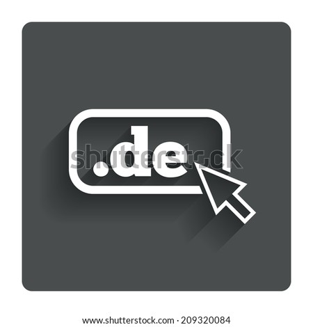Domain DE sign icon. Top-level internet domain symbol with cursor pointer. Gray flat button with shadow. Modern UI website navigation. - stock photo