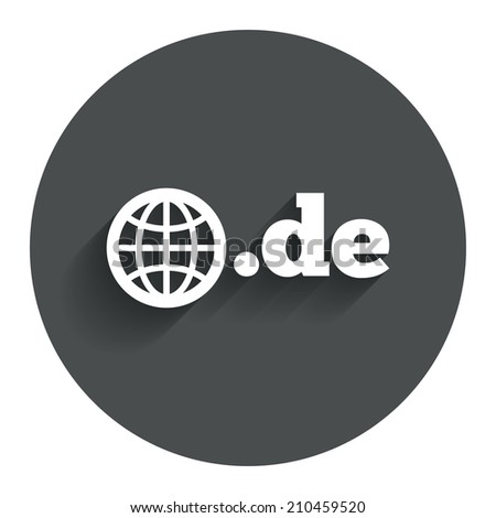 Domain DE sign icon. Top-level internet domain symbol with globe. Circle flat button with shadow. Modern UI website navigation. - stock photo