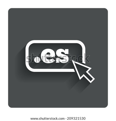 Domain ES sign icon. Top-level internet domain symbol with cursor pointer. Gray flat button with shadow. Modern UI website navigation. - stock photo