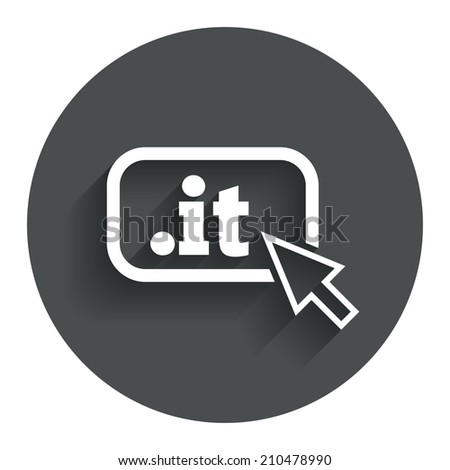 Domain IT sign icon. Top-level internet domain symbol with cursor pointer. Circle flat button with shadow. Modern UI website navigation. - stock photo