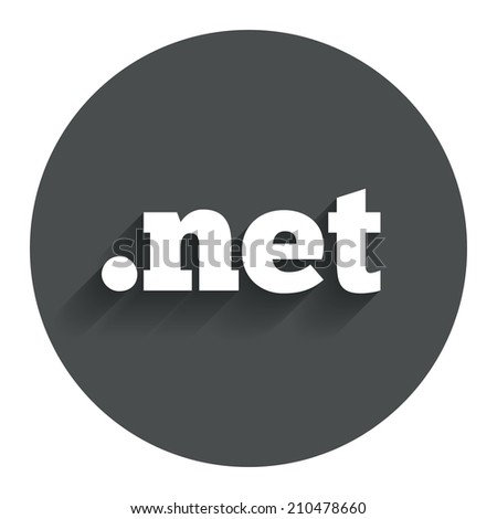 Domain NET sign icon. Top-level internet domain symbol. Circle flat button with shadow. Modern UI website navigation. - stock photo