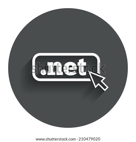 Domain NET sign icon. Top-level internet domain symbol with cursor pointer. Circle flat button with shadow. Modern UI website navigation. - stock photo