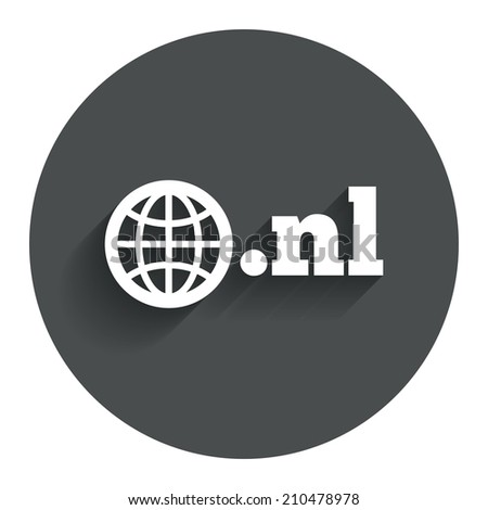 Domain NL sign icon. Top-level internet domain symbol with globe. Circle flat button with shadow. Modern UI website navigation. - stock photo