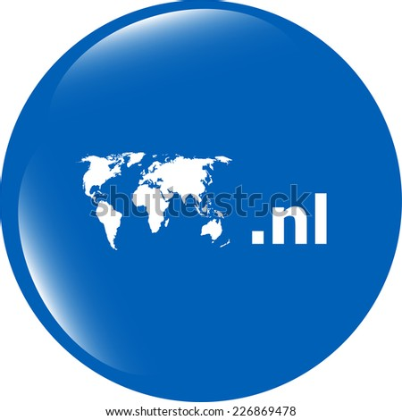 Domain NL sign icon. Top-level internet domain symbol with world map - stock photo