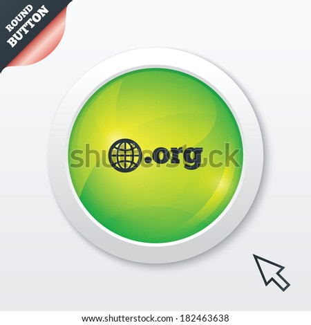 Domain ORG sign icon. Top-level internet domain symbol with globe. Green shiny button. Modern UI website button with mouse cursor pointer. - stock photo