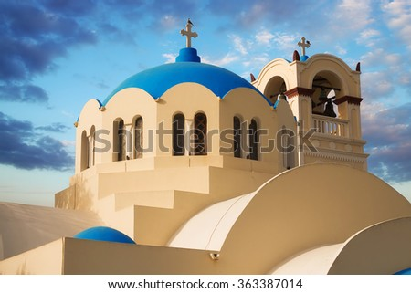 Dome and bell tower details of the main church in Emporio, Santorini - stock photo