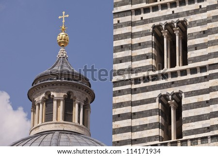 Dome and Bell Tower of the Cathedral of Siena, Italy - stock photo