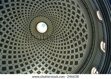 Dome, Mosta cathedral, Malta - stock photo