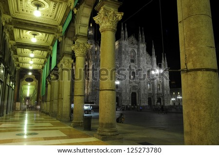 Dome night Milan - stock photo