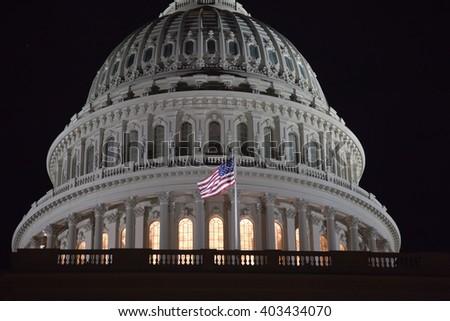 dome of Capitol Washington DC closeup at night - stock photo