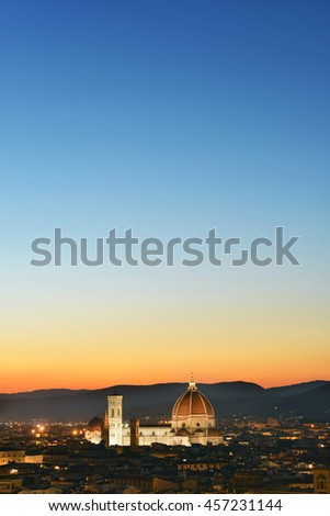 Dome of Florence at sunset - stock photo