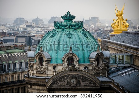 Dome of Paris Opera House, surrounded by fog. - stock photo