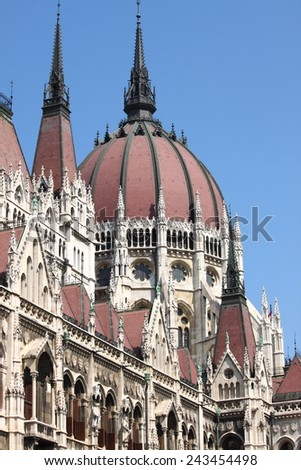 Dome of Parliament Building of Hungary in Budapest - stock photo