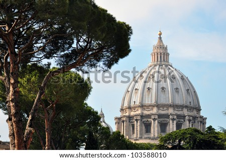 Dome of St. Peter's Basilica, St. Peter's Square, Vatican City.