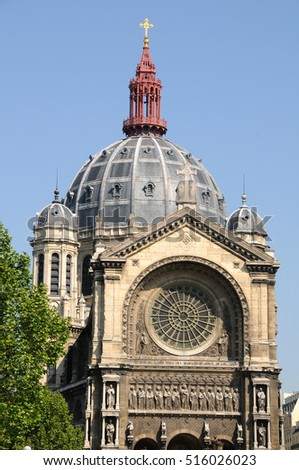 Dome of the church of Saint Augustine, in the historic center of the city of Paris, France