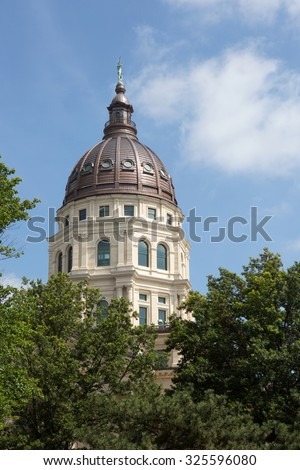 Dome of the Kansas State Capitol building located in Topeka, Kansas, USA. - stock photo