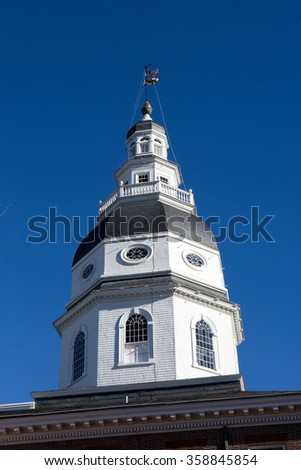 Dome of the Maryland State House Capitol which is located in Annapolis, MD, USA. - stock photo