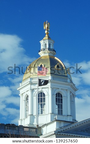 Dome of the State Capitol of New Hampshire in Concord, NH - stock photo