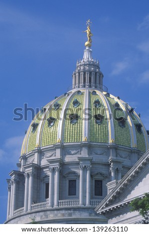 Dome of the State Capitol of Pennsylvania in Harrisburg, PA - stock photo