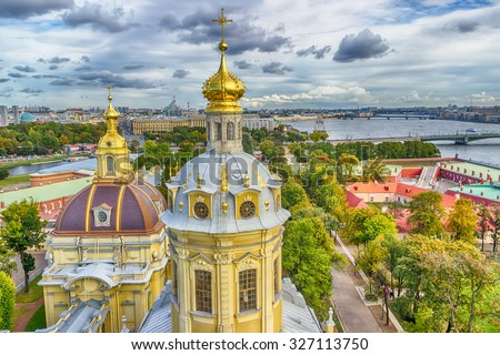 Dome  Peter and Paul Cathedral top view panorama of St.-Petersburg Russia - stock photo