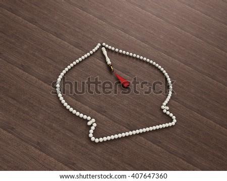 Dome Shaped Islamic rosary beads | Masbaha | Tasbih | 3D Illustration | Cream on a Wooden Background - stock photo