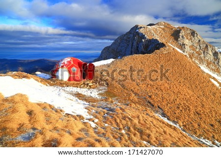 Dome shaped mountain refuge - stock photo