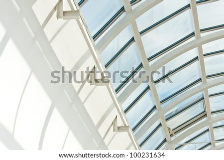 Dome-shaped top of modern centre's interior - stock photo