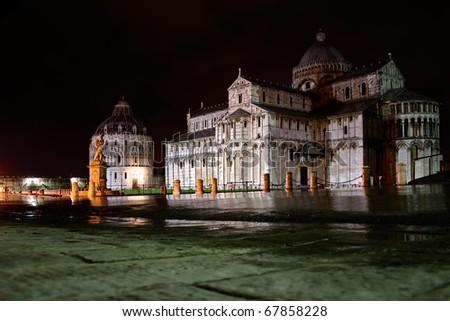 dome square in pisa at night - stock photo