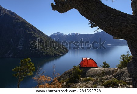 Dome Tent Camping - stock photo