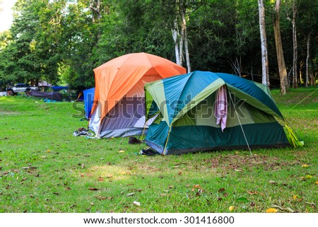 Dome tents of tourist in forest camping site - stock photo