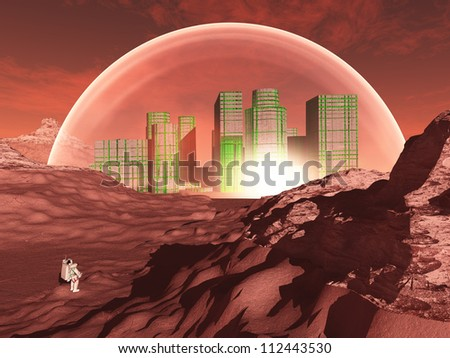 Domed city in inhospitable planet perhaps mars - stock photo