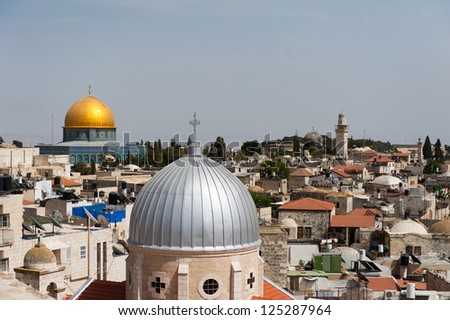 Domes and Minaret from the Austria Hospice - stock photo