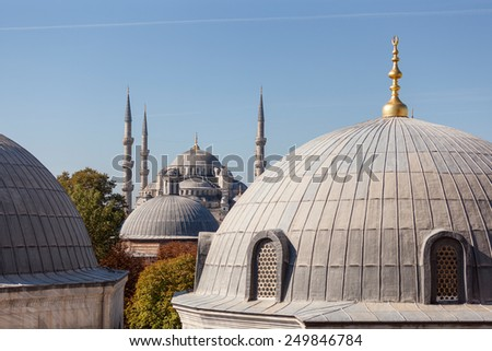 Domes of Blue Mosque in Istanbul - stock photo