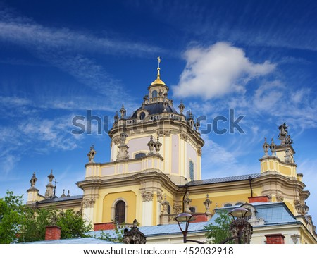 Domes of one of the most popular churches in Lviv - St. George's Cathedral - stock photo