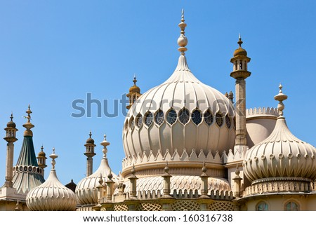 Domes of Royal Pavilion in Brighton, England - stock photo
