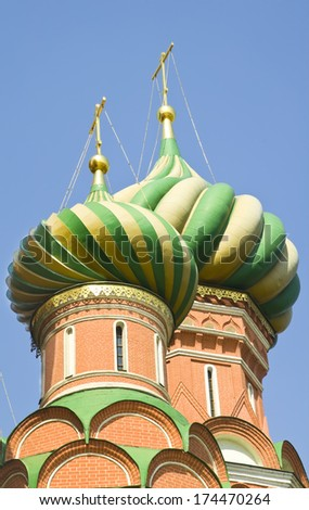 Domes Of The St. Basil Cathedral in Moscow, Russia - stock photo