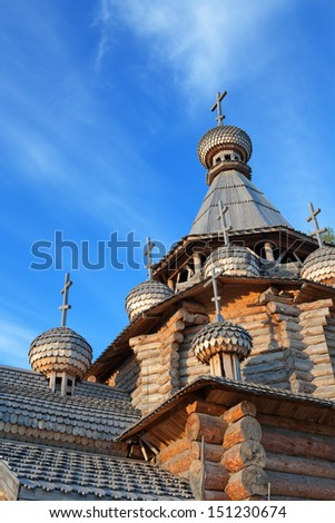 Domes wooden church - stock photo