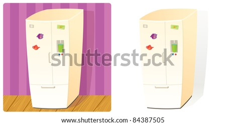 Domestic Refrigerator with Two Doors and Section for Fill Water. Stuff Collection (Raster version). - stock photo