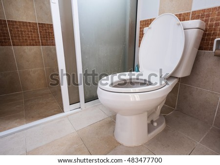 Domestic restroom with white lavatory, dirty floor