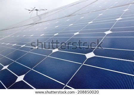 Domestic solar cell battery panel with selected focus - stock photo
