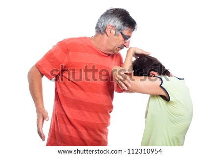 Domestic violence concept, middle aged couple fighting, isolated on white background. - stock photo