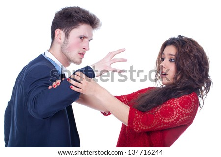 domestic violence on young couple - stock photo