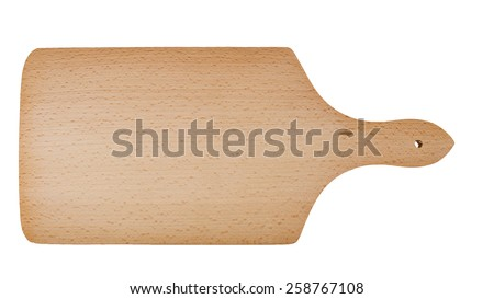 Domestic wooden cutting board for cheese, bread etc. Traditional handle design. Isolated on white. - stock photo