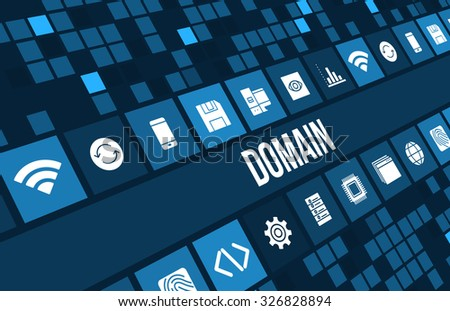 Domian concept image with business icons and  - stock photo